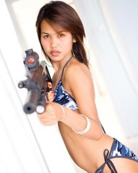 Seek and destroy nn  asian military girl lily shows off her lascivious bikini and gun. Asian Military girl Lily shows off her exciting bikini and gun
